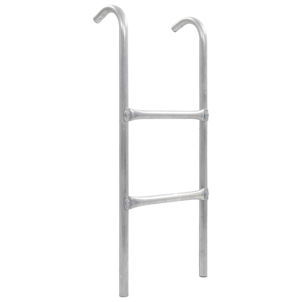 2stupínkový žebřík k trampolíně ocel stříbrný 82,5 cm