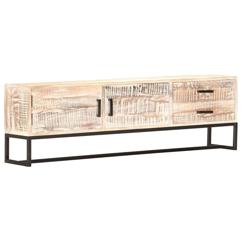 vidaXL Szafka pod TV, biała, 140 x 30 x 45 cm, lite drewno akacjowe