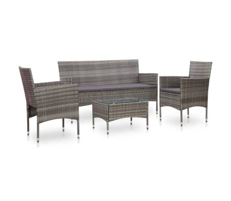 vidaXL 4 Piece Garden Lounge Set With Cushions Poly Rattan Gray