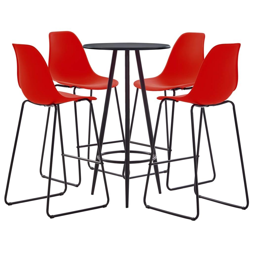 vidaXL Set mobilier de bar, 5 piese, roșu, plastic vidaxl.ro