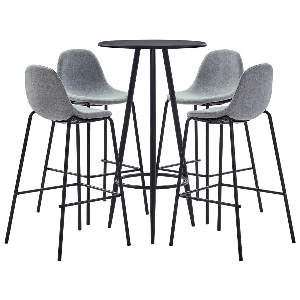 vidaXL Set mobilier de bar, 5 piese, gri deschis, material textil vidaxl.ro