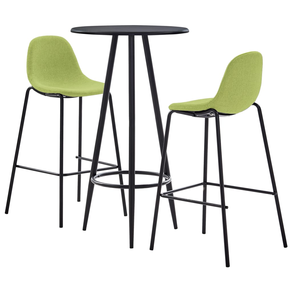 vidaXL Set mobilier de bar, 3 piese, verde, material textil poza 2021 vidaXL