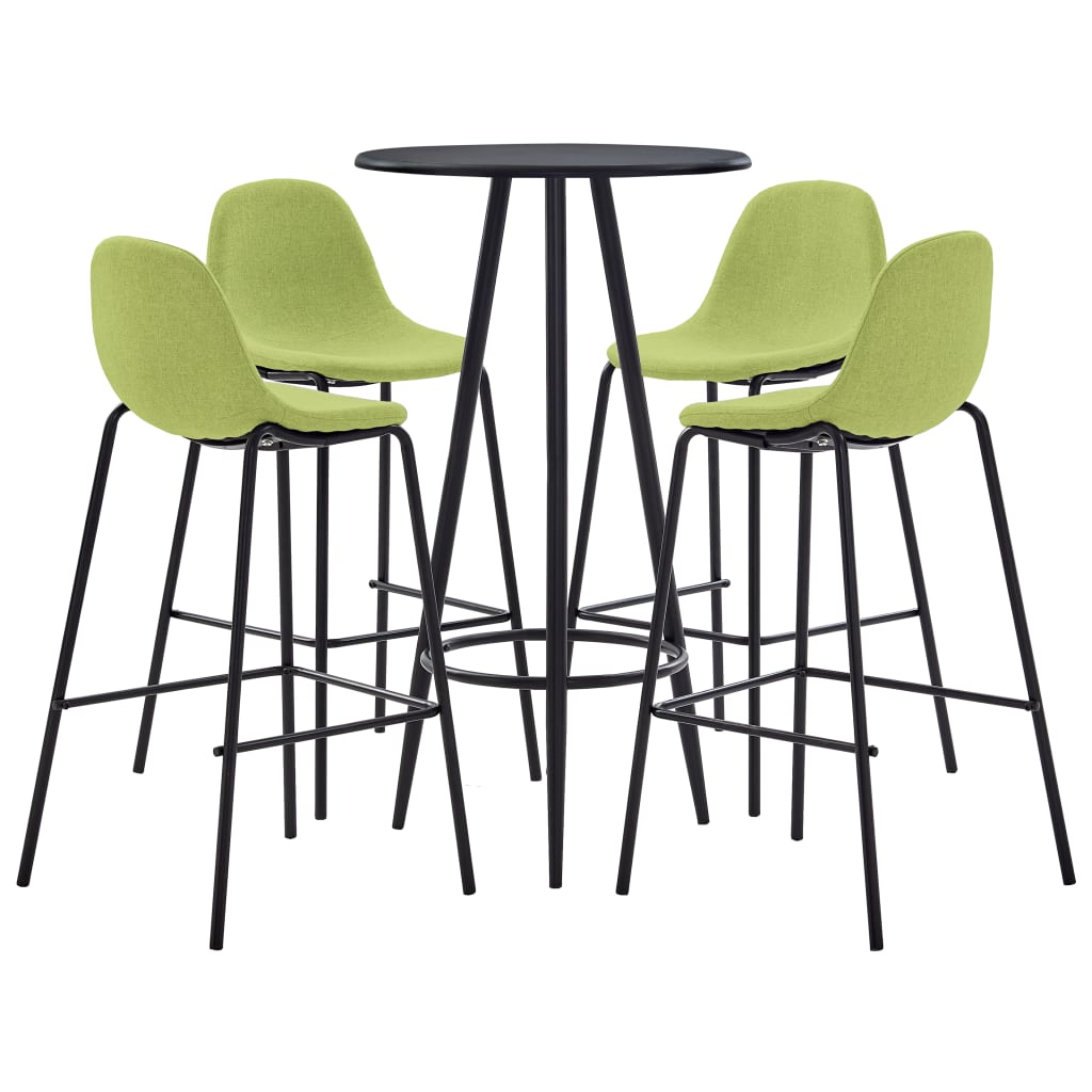 vidaXL Set mobilier de bar, 5 piese, verde, material textil imagine vidaxl.ro