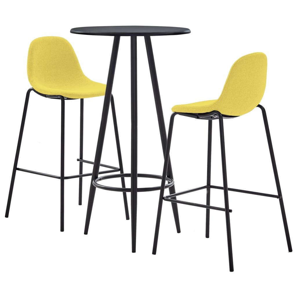 vidaXL 3dílný barový set textil žlutý