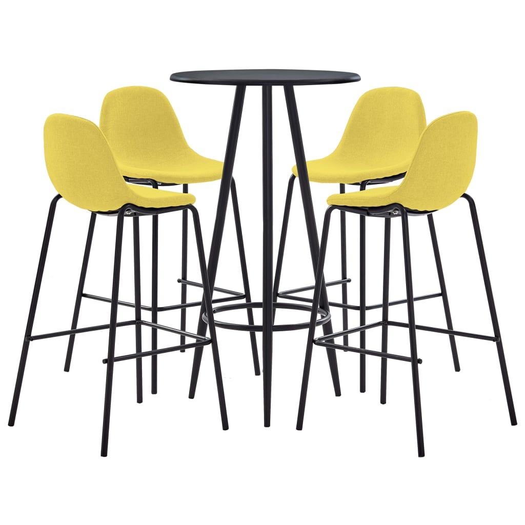 vidaXL Set mobilier de bar, 5 piese, galben, material textil poza 2021 vidaXL