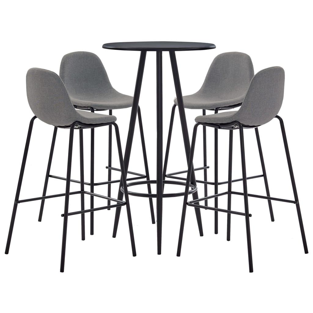 vidaXL Set mobilier de bar, 5 piese, gri taupe, material textil vidaxl.ro