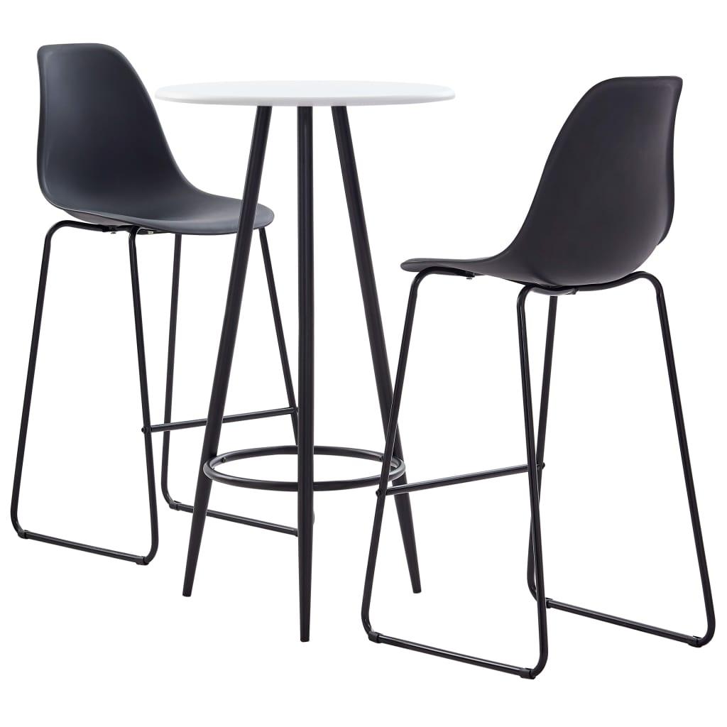 vidaXL Set mobilier de bar, 3 piese, negru, plastic vidaxl.ro