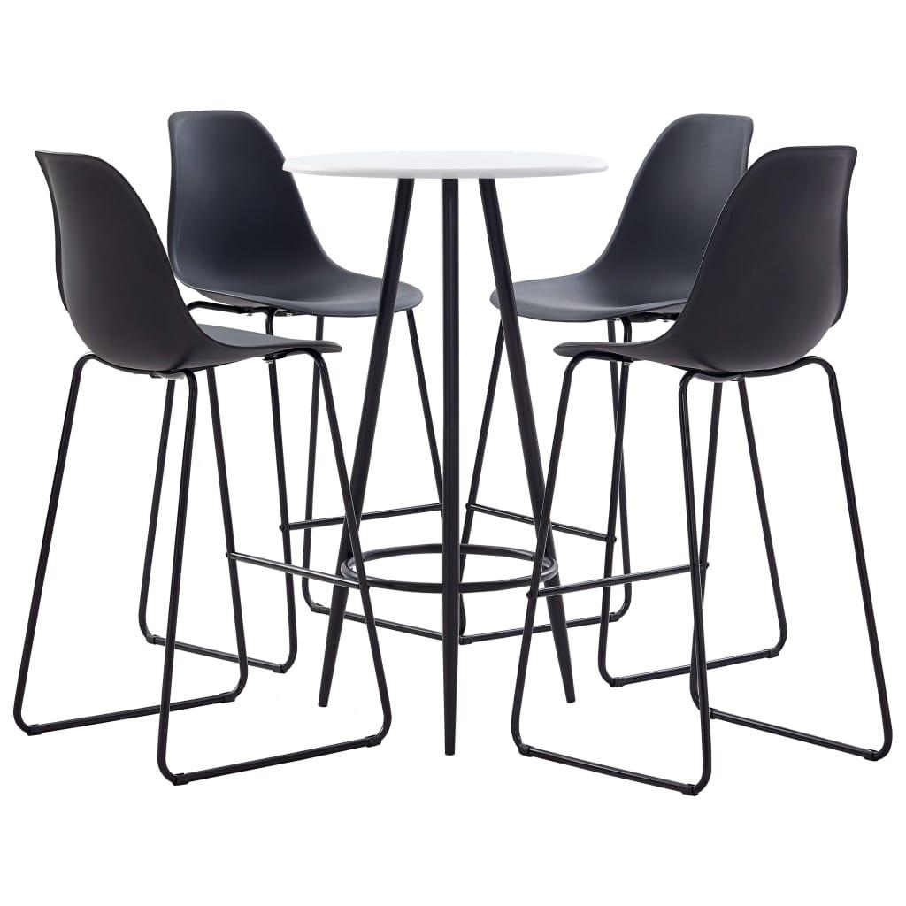 vidaXL Set mobilier de bar, 5 piese, negru, plastic imagine vidaxl.ro