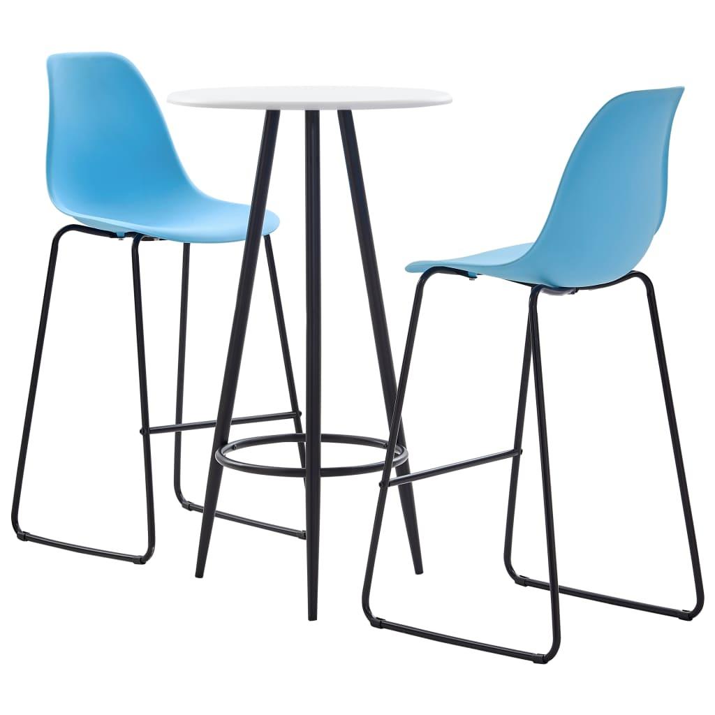 vidaXL 3dílný barový set plast modrý
