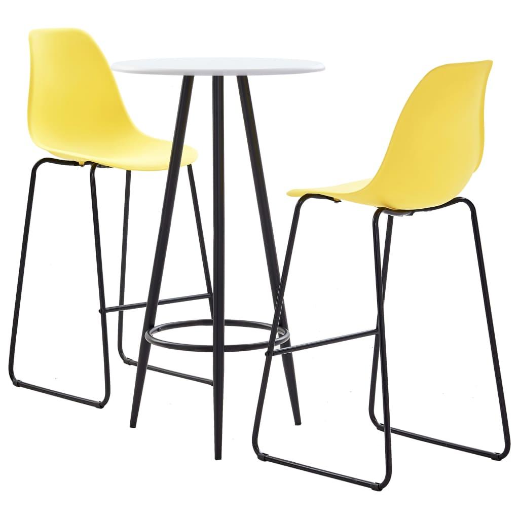 vidaXL 3dílný barový set plast žlutý