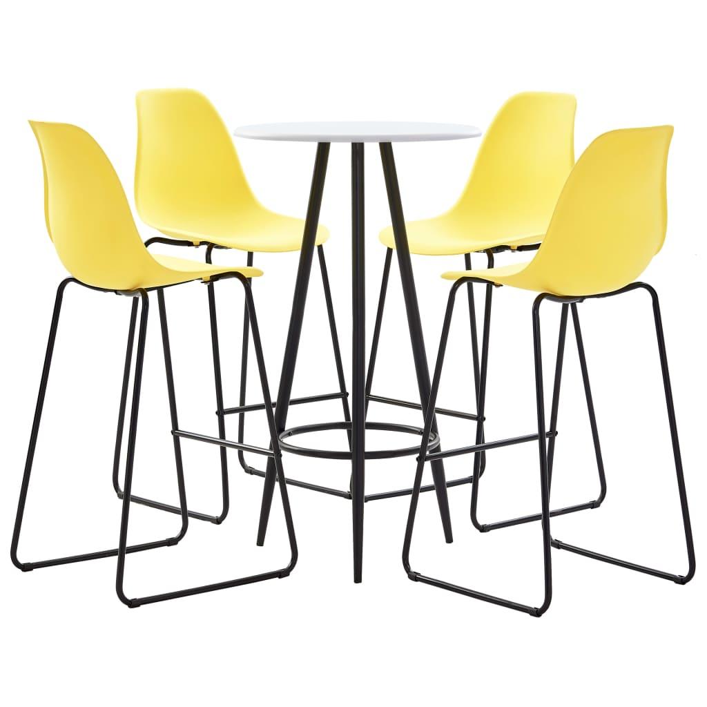 vidaXL Set mobilier de bar, 5 piese, galben, plastic poza vidaxl.ro
