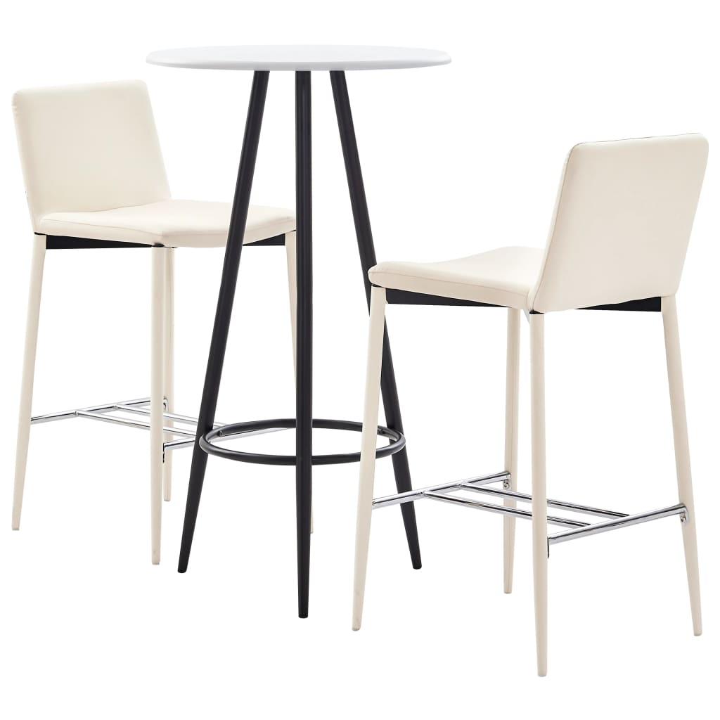 <ul><li><strong>Bartisch</strong>:</li><li>Farbe: Weiß</li><li>Material: MDF mit PVC-Beschichtung (Tischplatte) + pulverbeschichteter Stahl (Beine)</li><li>Abmessungen: 60 x 107,5 cm (Durchmesser x H)</li><li><strong>Barhocker</strong>:</li><li>Farbe: Creme</li><li>Material: Kunstlederbezug und pulverbeschichtete Metallbeine</li><li>Abmessungen: 45 x 44 x 100 cm (B x T x H)</li><li>Sitzbreite: 38 cm</li><li>Sitztiefe: 35 cm</li><li>Sitzhöhe vom Boden: 74 cm</li><li>Mit verchromter Fußstütze</li><li><strong>Lieferung beinhaltet</strong>:</li><li>1 x Bartisch</li><li>2 x Barstuhl</li><li>Material: Baumwolle: 10%, Polyester: 30%, Polyurethan: 60%</li></ul>