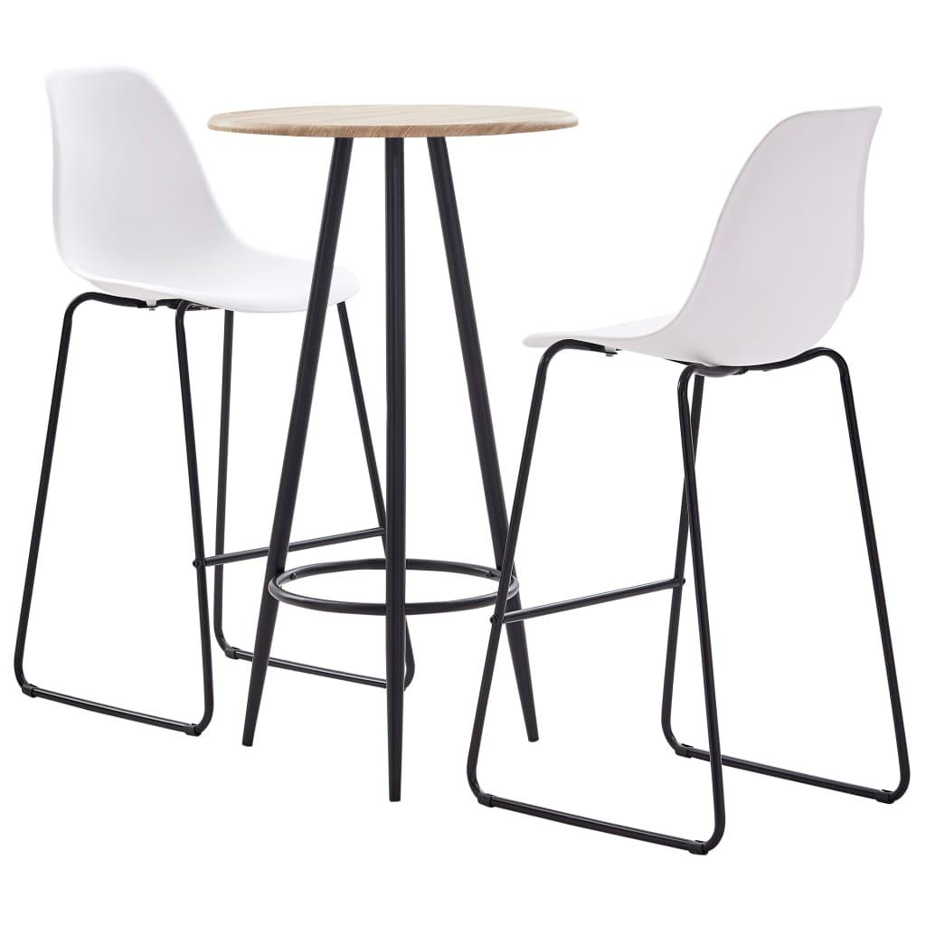 vidaXL Set mobilier de bar, 3 piese, alb, plastic imagine vidaxl.ro