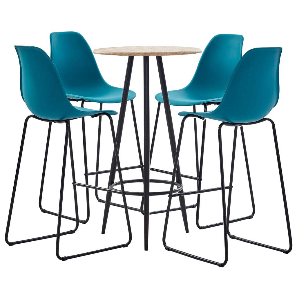 vidaXL Set mobilier de bar, 5 piese, turcoaz, plastic poza 2021 vidaXL