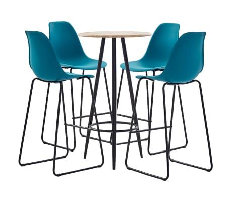 vidaXL Set mobilier de bar, 5 piese, turcoaz, plastic