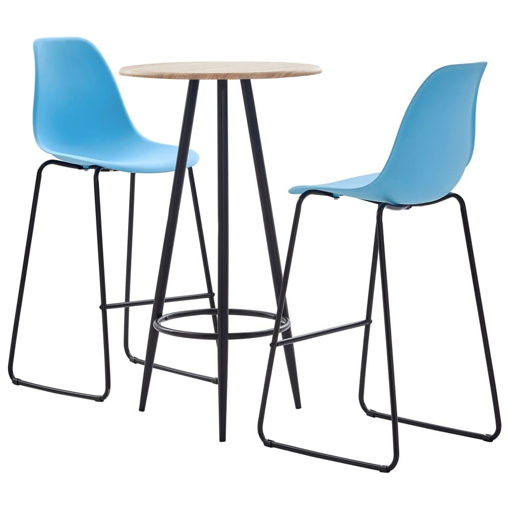 vidaXL Set mobilier de bar, 3 piese, albastru, plastic poza vidaxl.ro