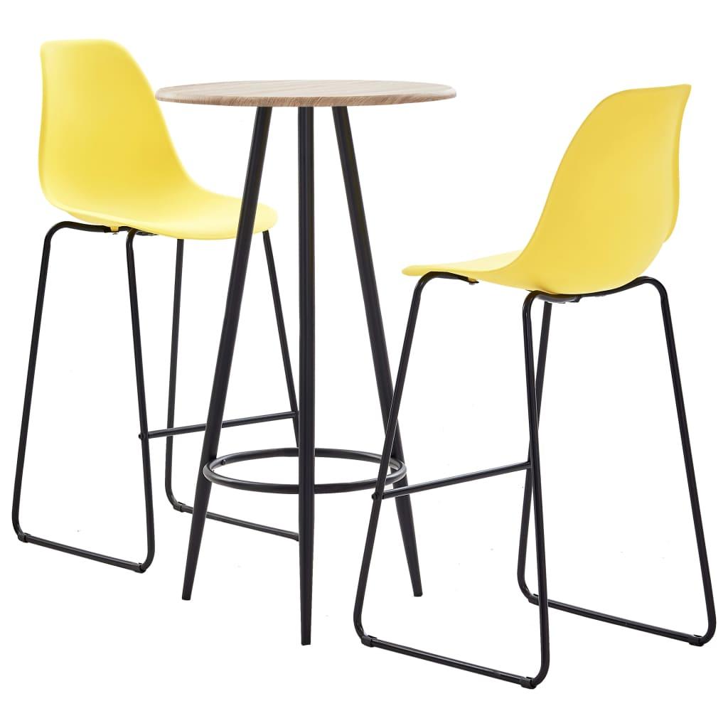 3dílný barový set plast žlutý
