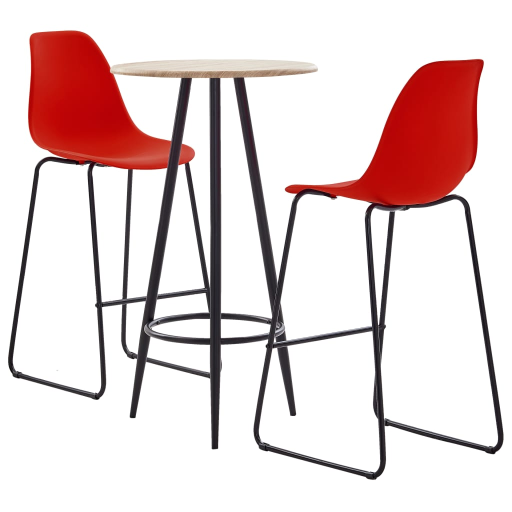 vidaXL 3dílný barový set plast červený