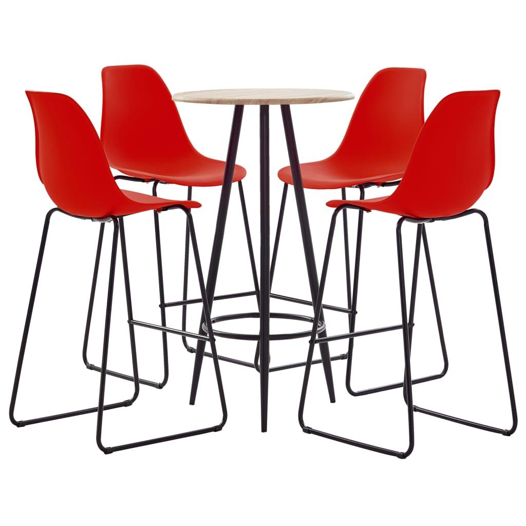 vidaXL Set mobilier de bar, 5 piese, roșu, plastic imagine vidaxl.ro