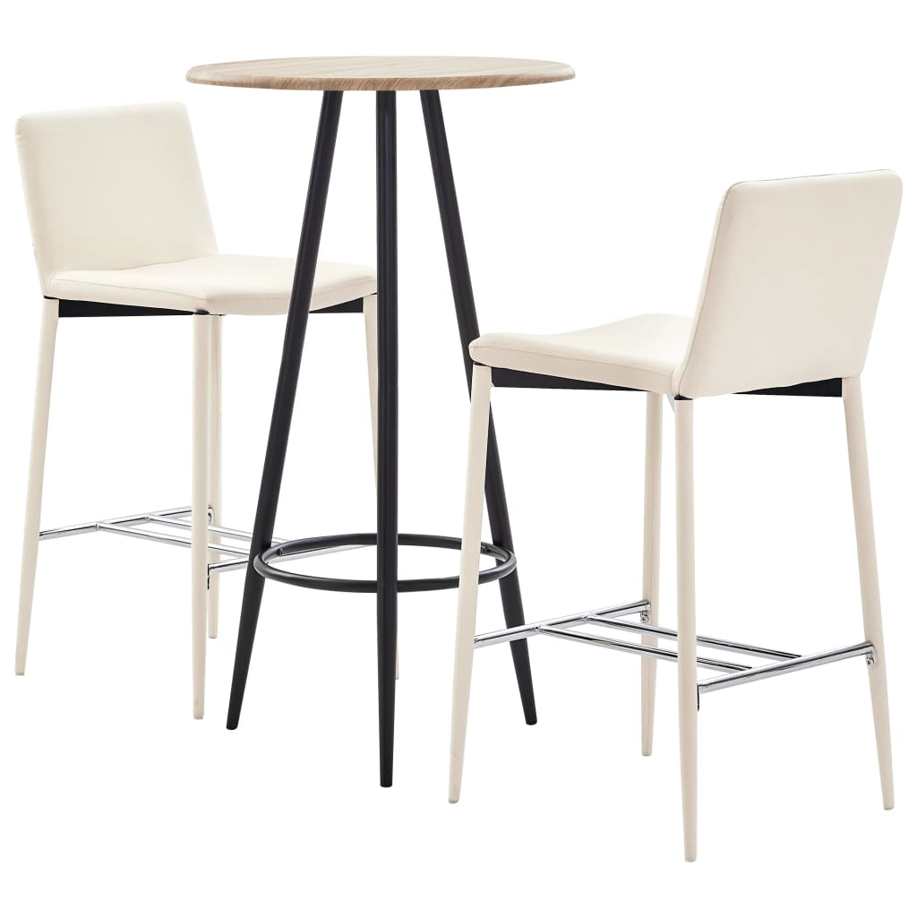 <ul><li><strong>Bartisch</strong>:</li><li>Farbe: Eichefarben </li><li>Material: MDF mit PVC-Beschichtung (Tischplatte) + pulverbeschichteter Stahl (Beine)</li><li>Abmessungen: 60 x 107,5 cm (Durchmesser x H)</li><li><strong>Barhocker</strong>:</li><li>Farbe: Creme</li><li>Material: Kunstlederbezug und pulverbeschichtete Metallbeine</li><li>Abmessungen: 45 x 44 x 100 cm (B x T x H)</li><li>Sitzbreite: 38 cm</li><li>Sitztiefe: 35 cm</li><li>Sitzhöhe vom Boden: 74 cm</li><li>Mit verchromter Fußstütze</li><li><strong>Lieferung beinhaltet</strong>:</li><li>1 x Bartisch</li><li>2 x Barstuhl</li><li>Material: Baumwolle: 10%, Polyester: 30%, Polyurethan: 60%</li></ul>