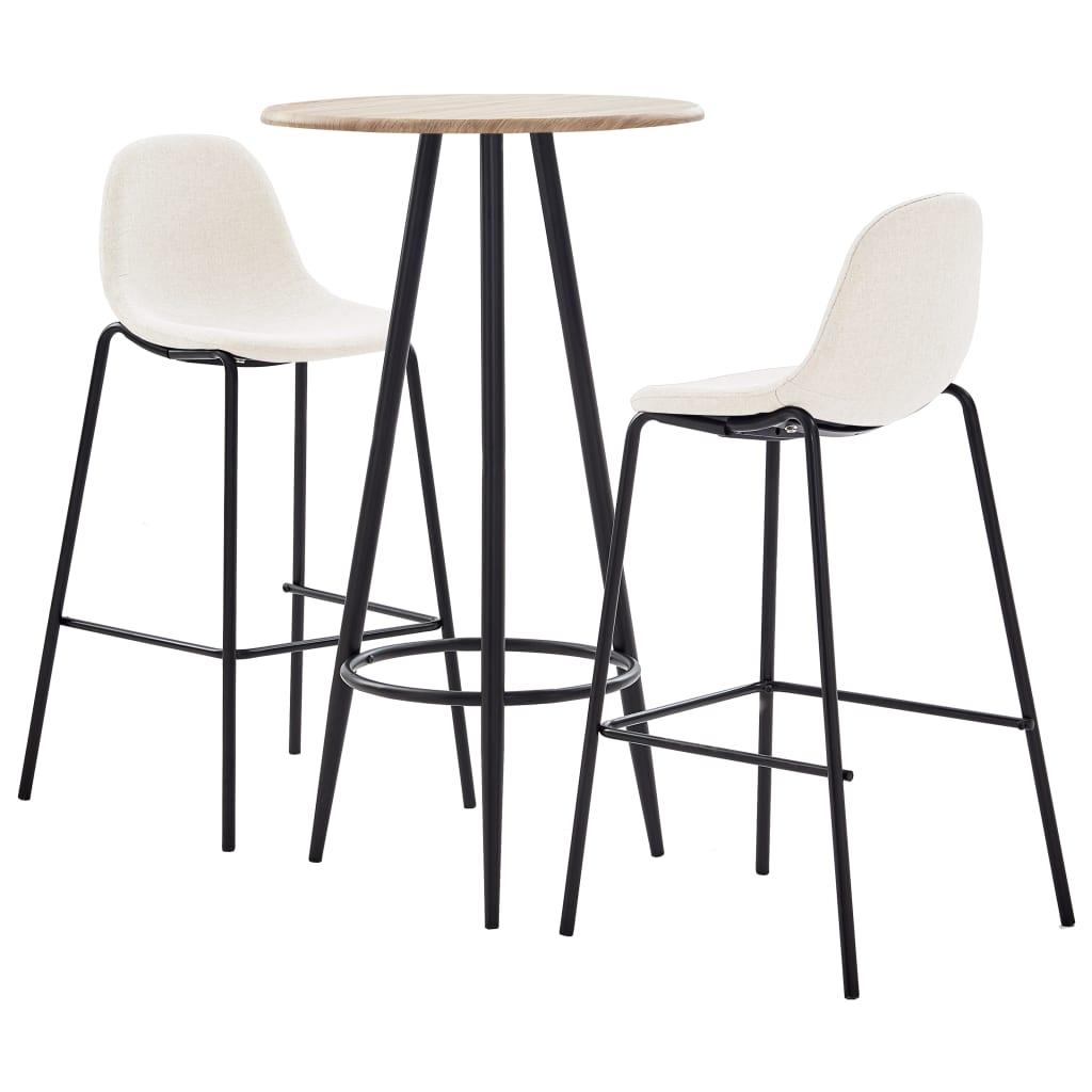 vidaXL Set mobilier de bar, 3 piese, crem, material textil vidaxl.ro