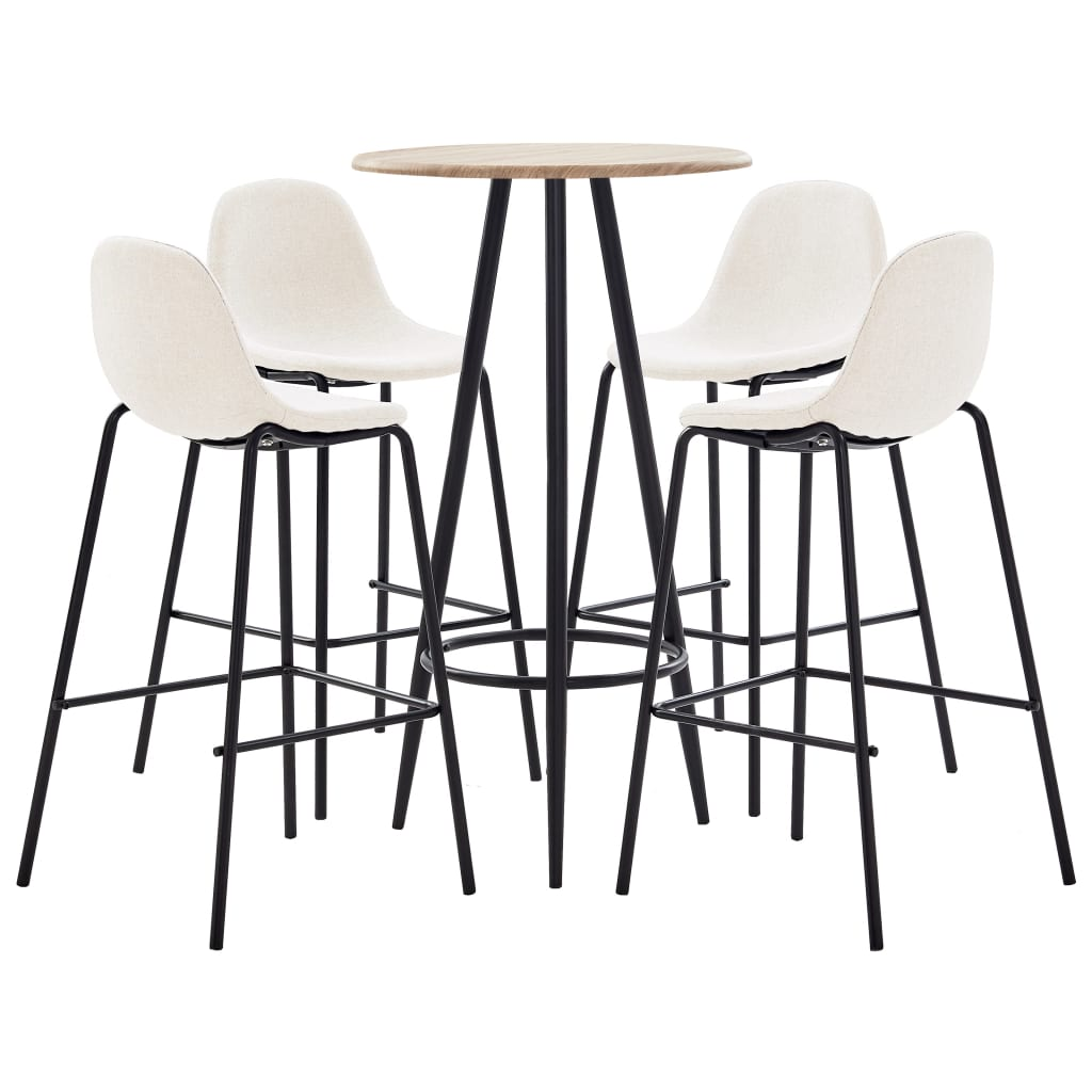 vidaXL Set mobilier de bar, 5 piese, crem, material textil poza vidaxl.ro