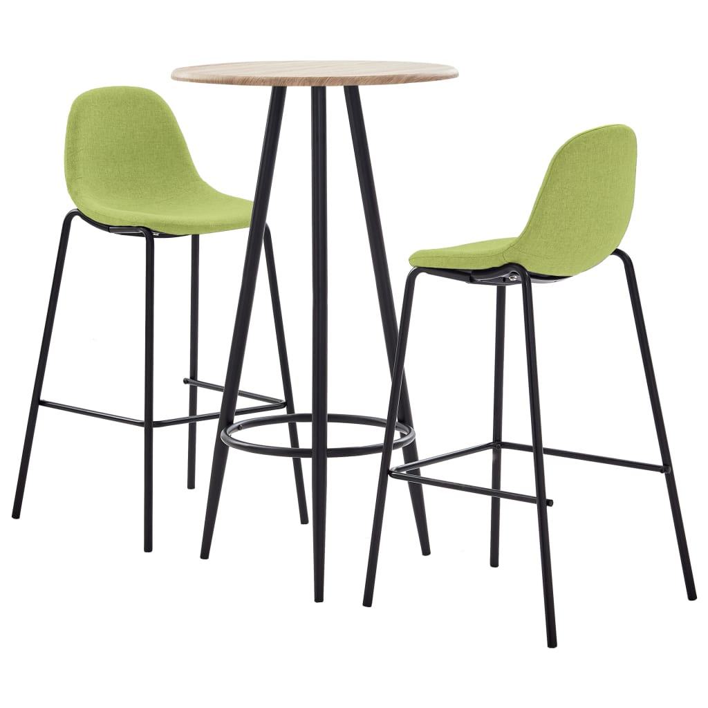 vidaXL 3dílný barový set textil zelený