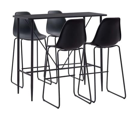 vidaXL Juego de mesa alta y taburetes 5 piezas plástico negro