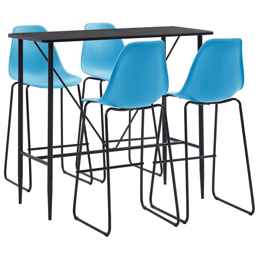 vidaXL Set mobilier de bar, 5 piese, albastru, plastic vidaxl.ro
