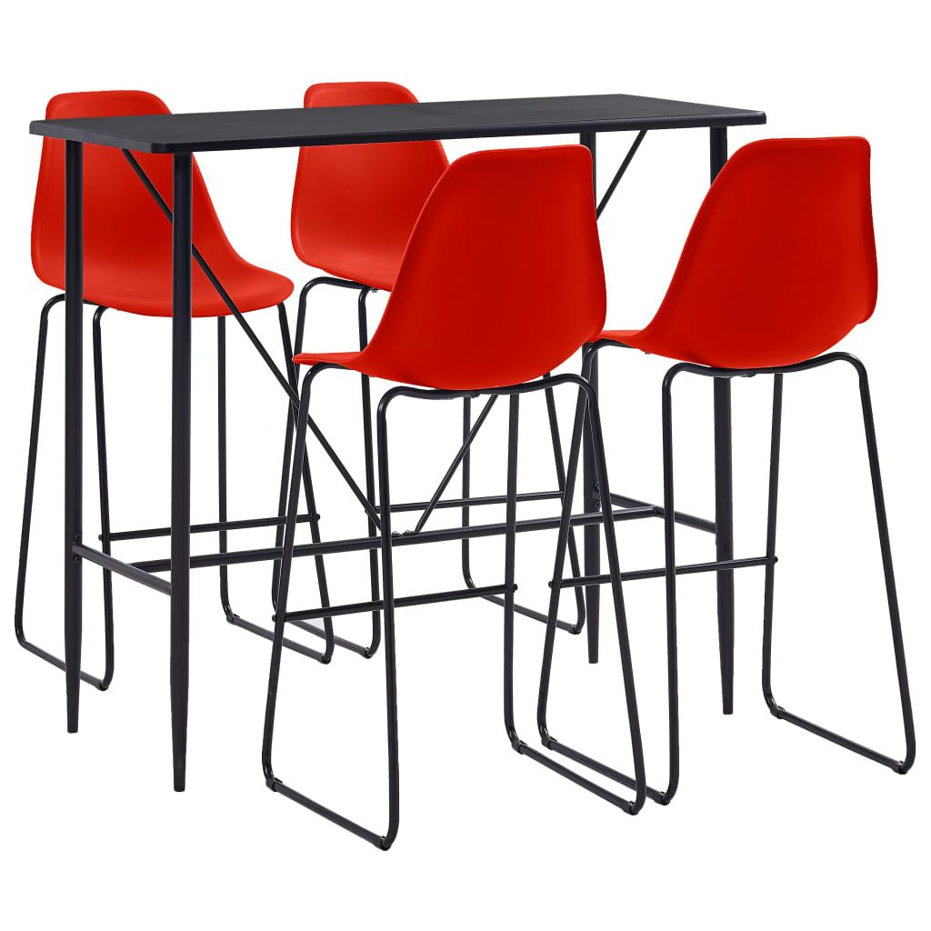 vidaXL Set mobilier de bar, 5 piese, roșu, plastic poza 2021 vidaXL