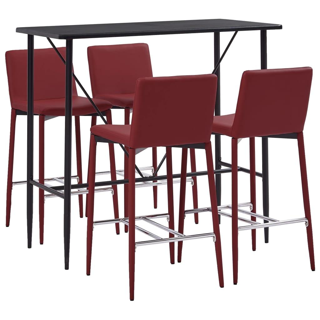 vidaXL Set de bar, 5 piese, roșu vin, piele ecologică imagine vidaxl.ro