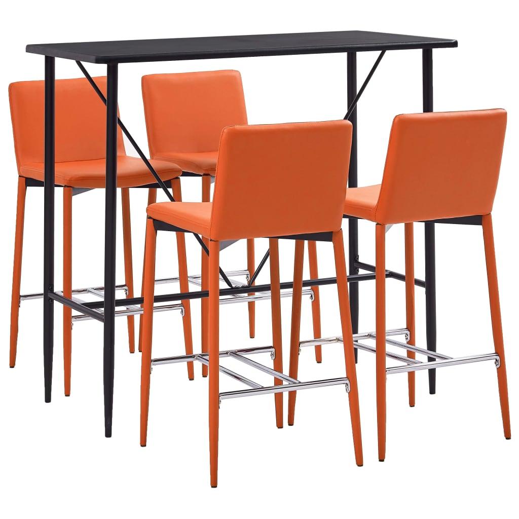 vidaXL Set de bar, 5 piese, portocaliu, piele ecologică imagine vidaxl.ro