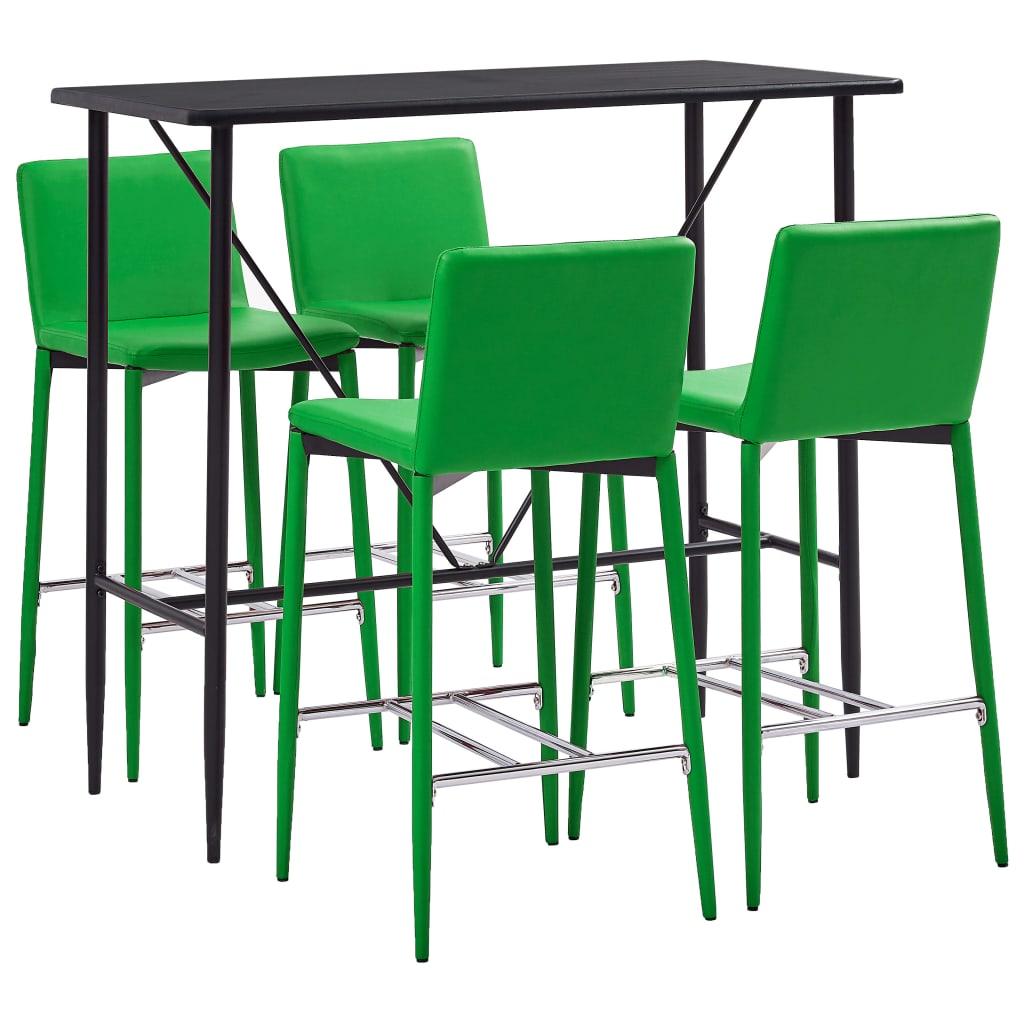 vidaXL Set de bar, 5 piese, verde, piele ecologică poza vidaxl.ro
