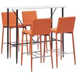 vidaXL Baro baldų komplektas, 5 dalių, oranžinis, dirbtinė oda