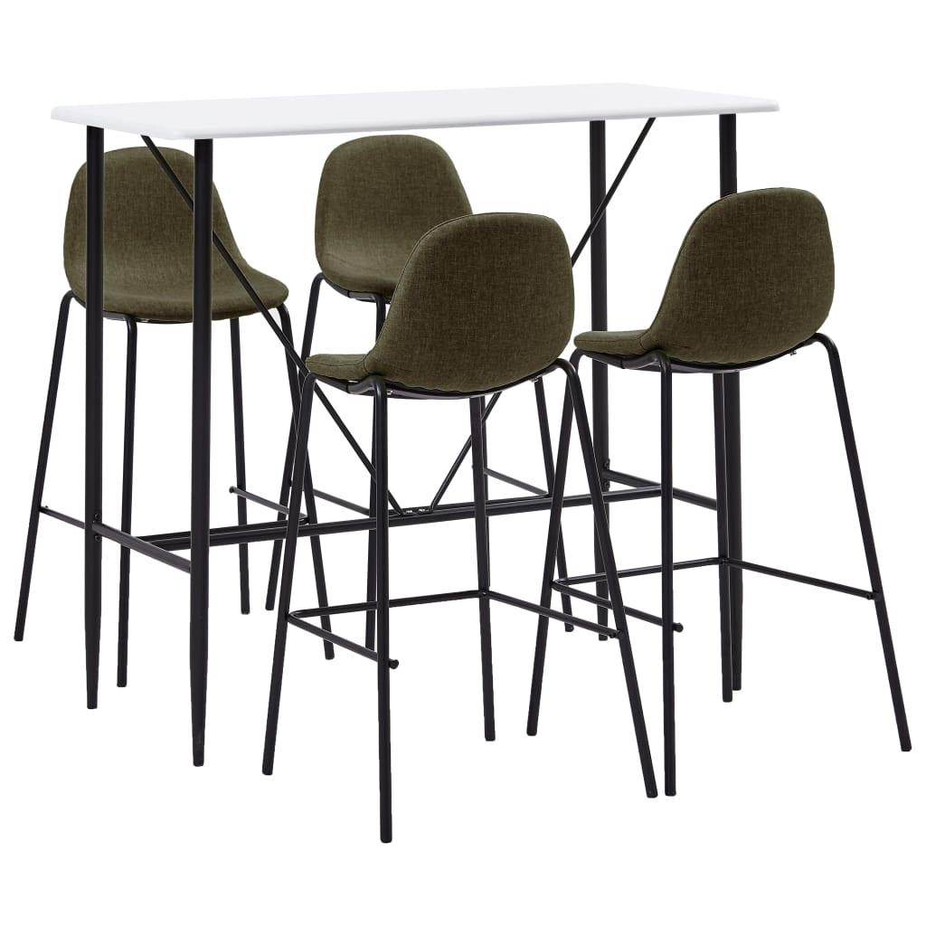 vidaXL Set mobilier de bar, 5 piese, maro, material textil poza vidaxl.ro