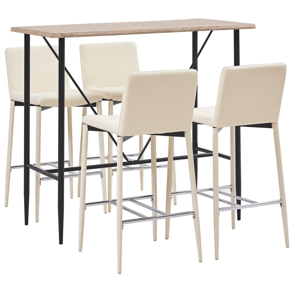 vidaXL Set mobilier de bar, 5 piese, crem, piele ecologică poza 2021 vidaXL