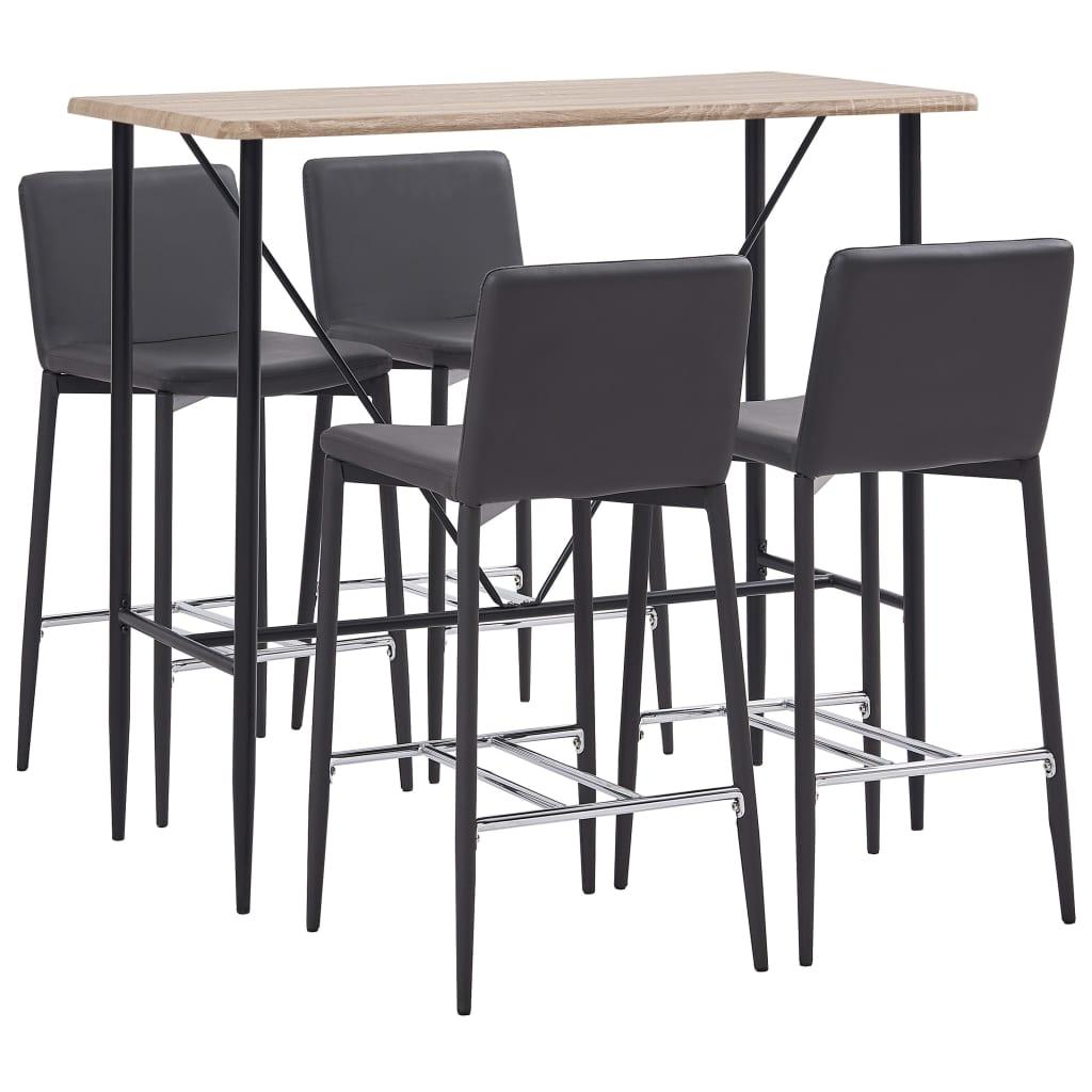 vidaXL Set mobilier de bar, 5 piese, gri, piele ecologică poza 2021 vidaXL