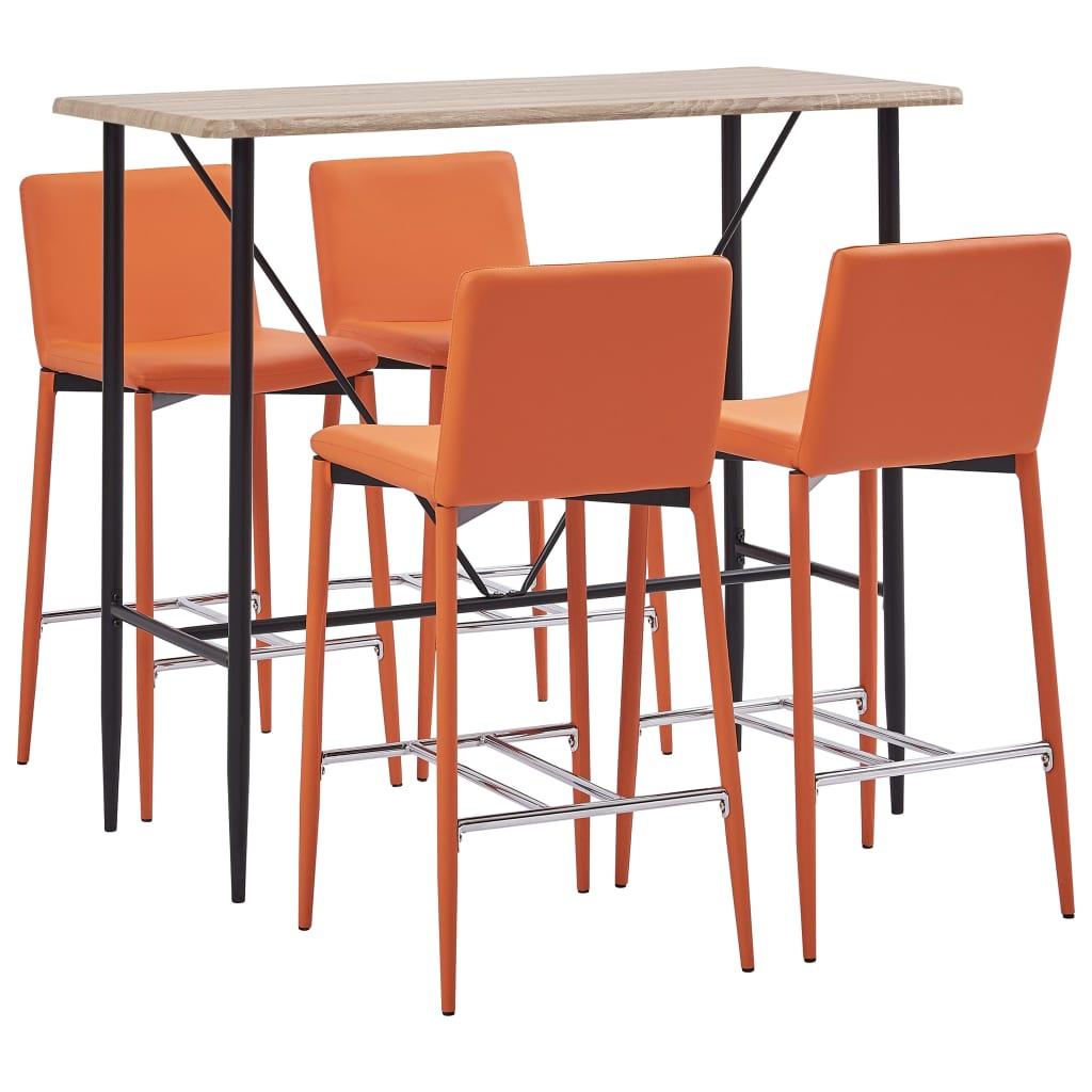 vidaXL 5-részes narancssárga mûbõr bárszett