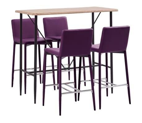 vidaXL 5dílný barový set umělá kůže fialový