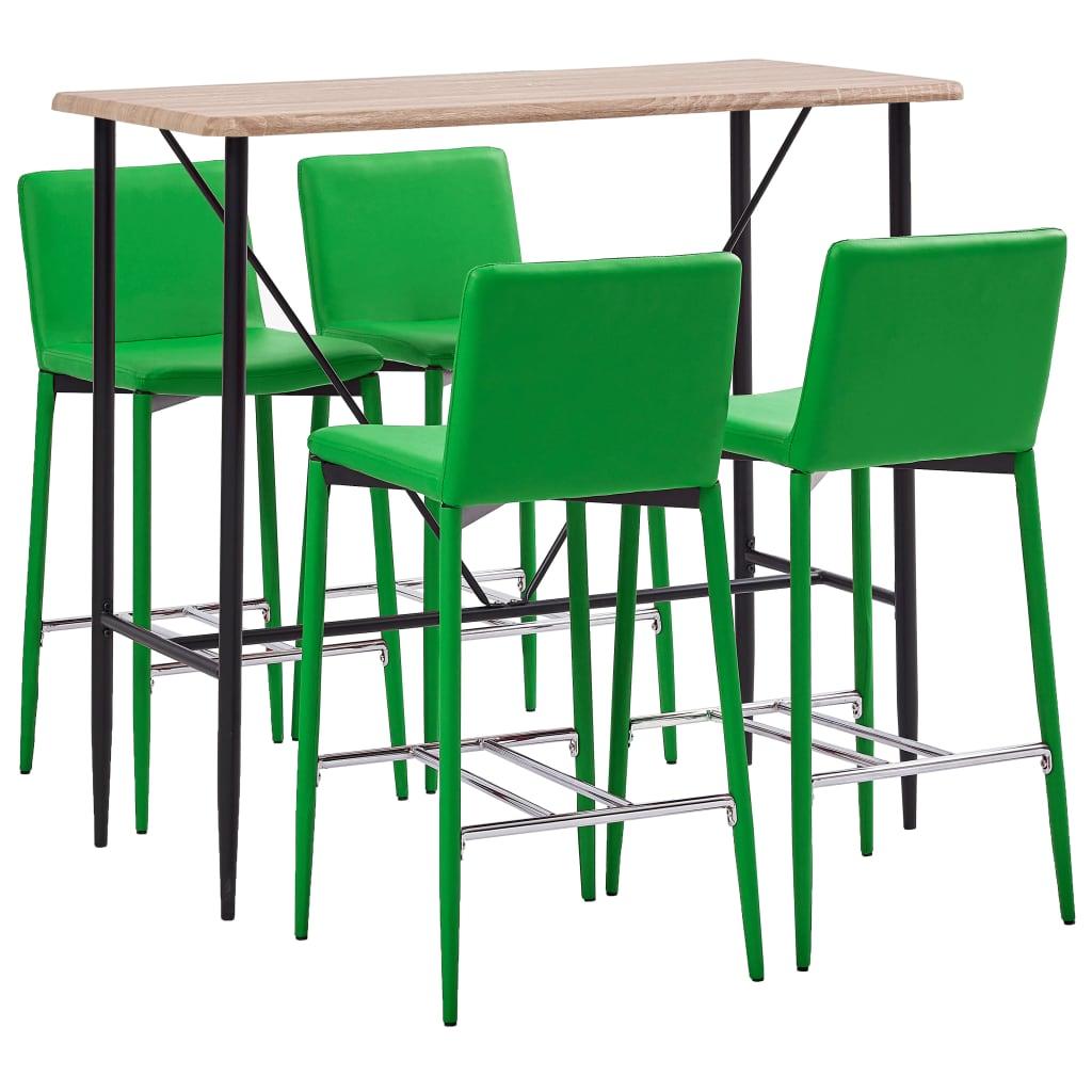 vidaXL 5-részes zöld mûbõr bárszett