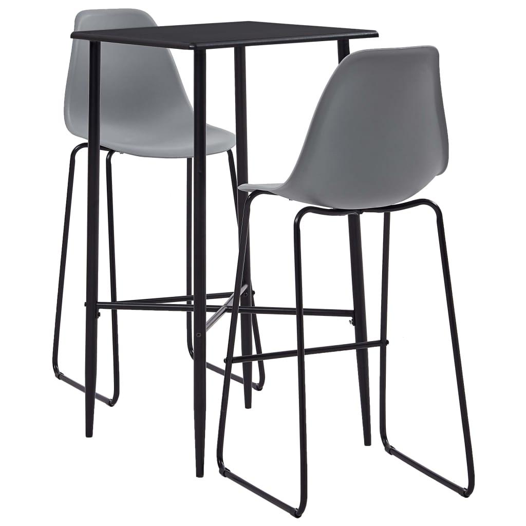 vidaXL Set mobilier de bar, 3 piese, gri, plastic imagine vidaxl.ro