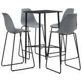 vidaXL Baro baldų komplektas, 5 dalių, pilkos spalvos, plastikas
