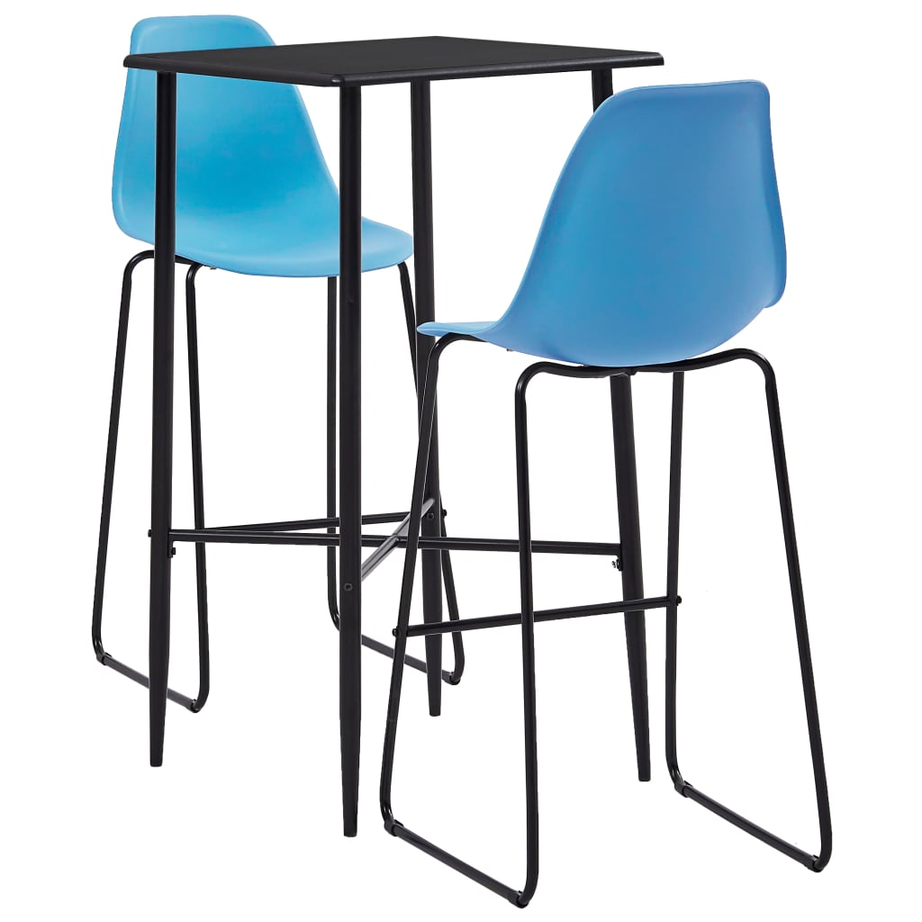 vidaXL Set mobilier de bar, 3 piese, albastru, plastic vidaxl.ro