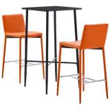 vidaXL Baro baldų komplektas, 3 dalių, oranžinės spalvos, dirbtinė oda