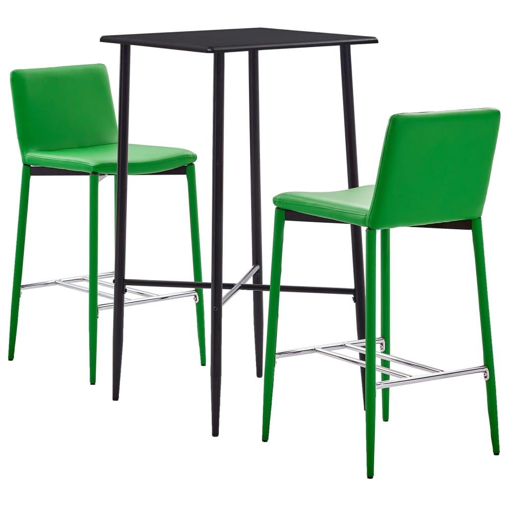 vidaXL 3-részes zöld mûbõr bárszett