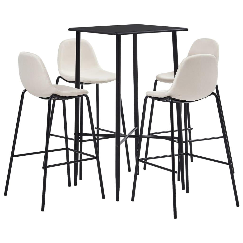 vidaXL Set mobilier de bar, 5 piese, crem, material textil vidaxl.ro