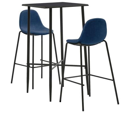 vidaXL Set mobilier de bar, 3 piese, albastru, material textil
