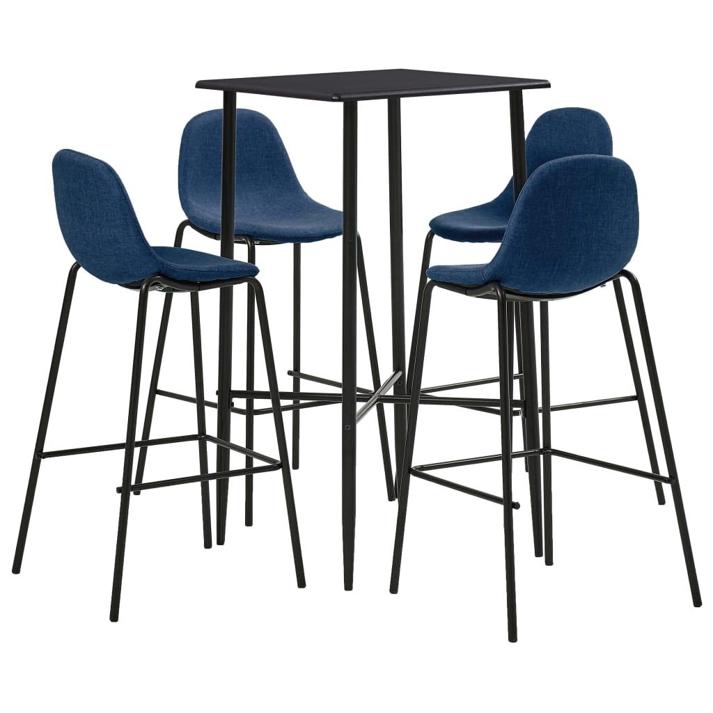 vidaXL Set de bar, 5 piese, albastru, material textil imagine vidaxl.ro