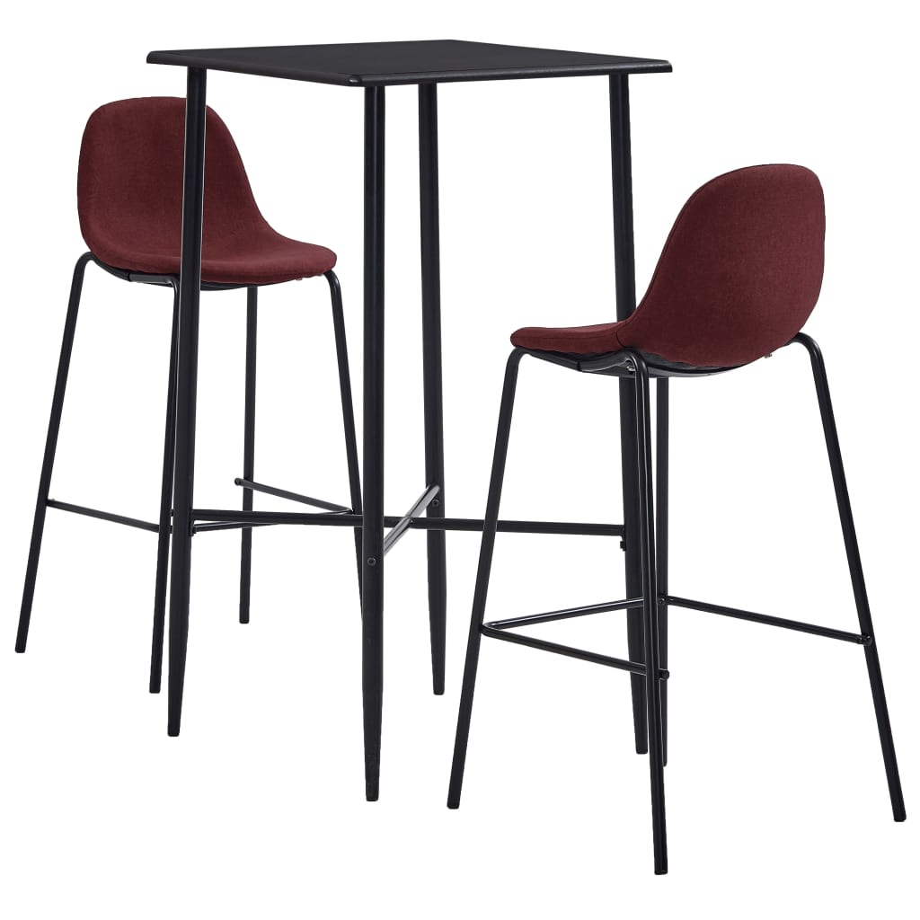 vidaXL Set de bar, 3 piese, roșu vin, material textil vidaxl.ro