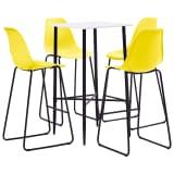 vidaXL Baro baldų komplektas, 5 dalių, geltonos spalvos, plastikas